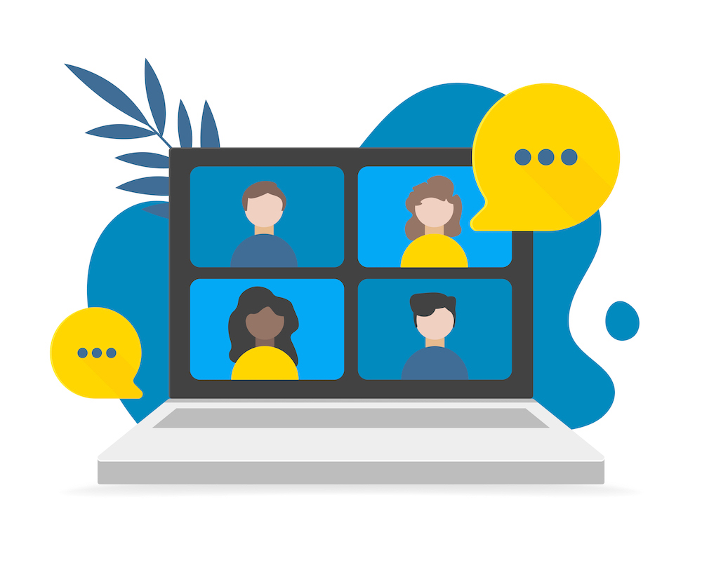Video call conference, working from home, social distancing, business discussion on the laptop screen. Vector flat illustrations.